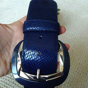 White House Black Market Accessories - White House black market wide blue belt